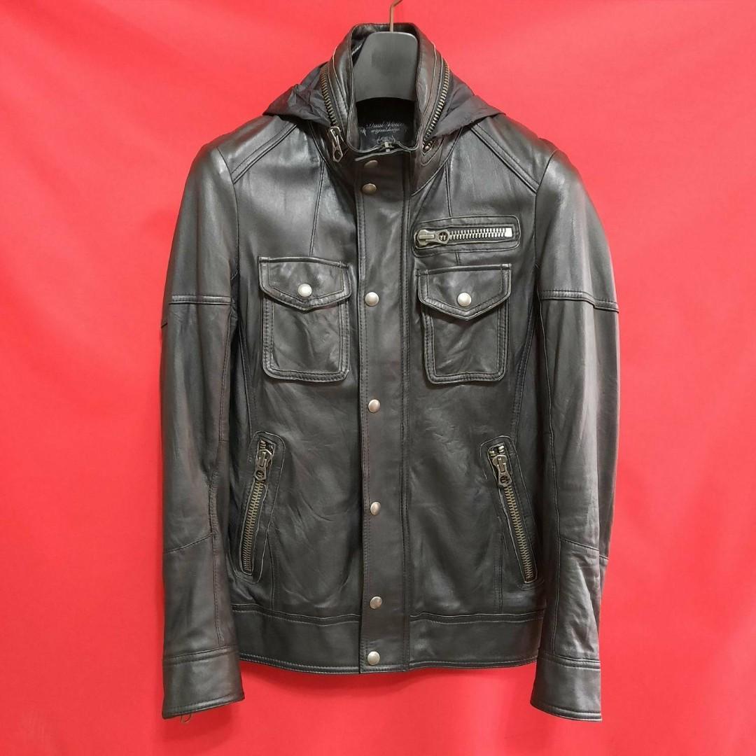 日本品牌DUAL VOICE英倫超窄版M65連帽型男羊皮騎士皮衣 真皮