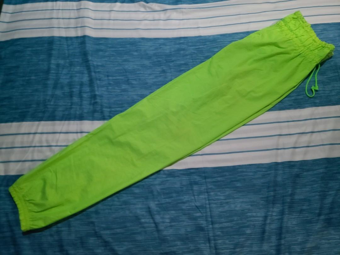 螢光綠 鬆緊帶褲頭 風褲(L)