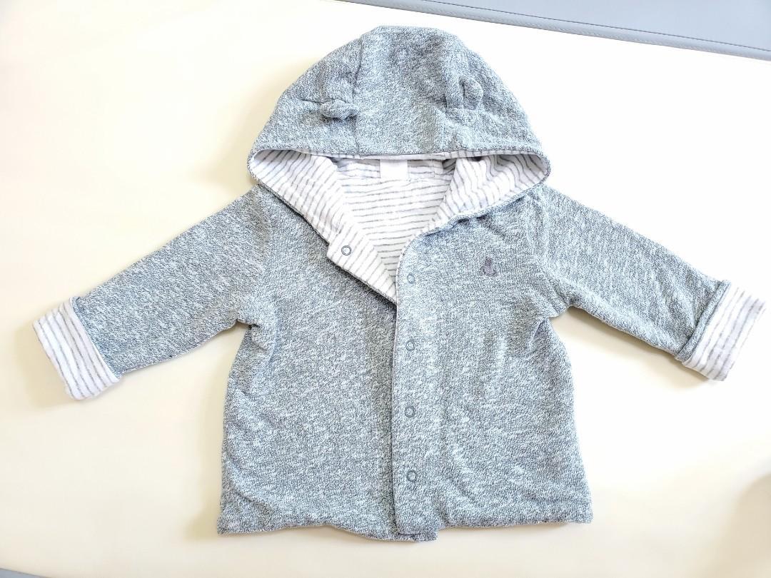 二手 baby gap 嬰幼兒 男寶 女寶 秋冬 外套 6m-12m 灰色 橫條紋 小熊 兩面穿