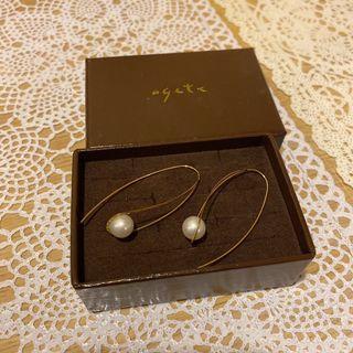 agete珍珠耳環(耳針)