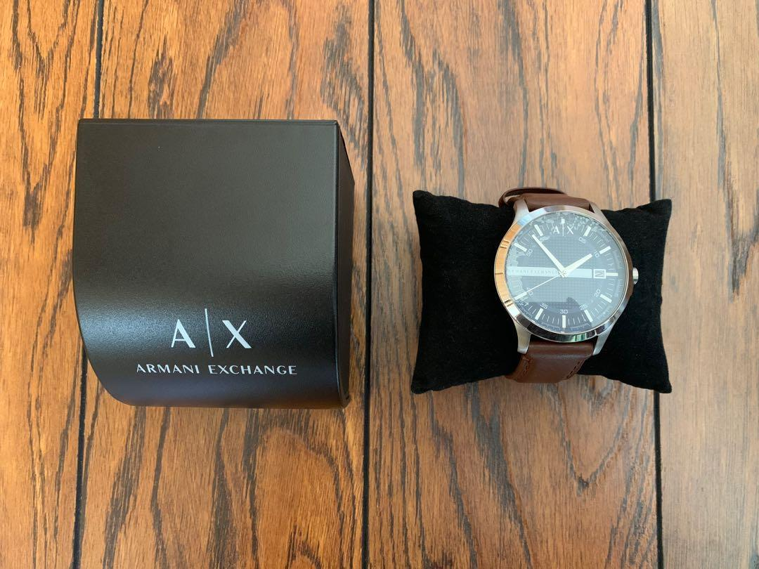 Armani Exchange AX men's brown leather wrist watch