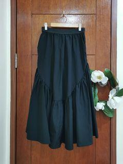 Black Maxi Ruffled Skirt (garterized)