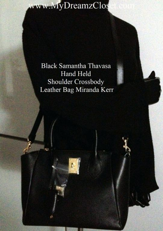 Black Samantha Thavasa Hand Held Shoulder Crossbody Leather Bag Miranda Kerr