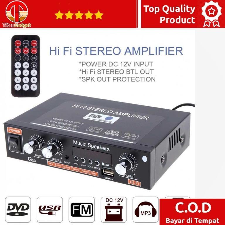Car Audio HiFi Stereo Amplifier Treble Bass Remote - G30 TitanGadget