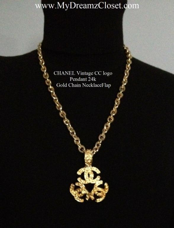 CHANEL Vintage CC logo Pendant 24k Gold Chain Necklace