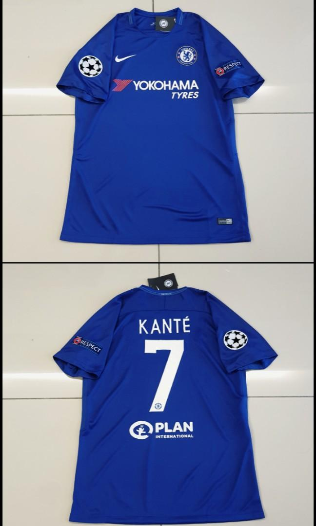 Chelsea 17-18 Home Jersey UEFA Champions League #7 KANTE