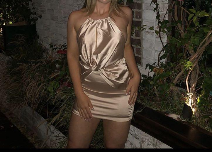 Fashion Nova Satin Silk Dress Champagne