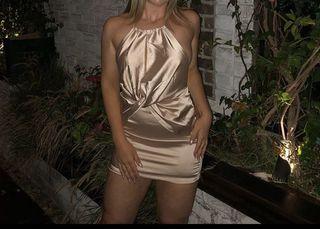 Fashion Nova Satin Silk Dress Champagne