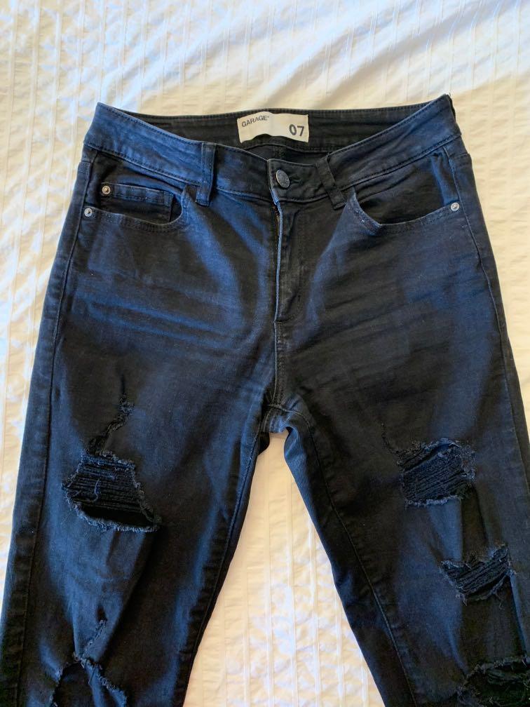 Garage Black Distressed Jeans Size 7