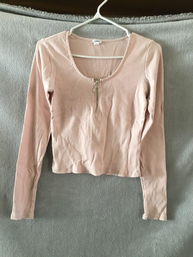 Garage long sleeve shirt with front zipper - size large
