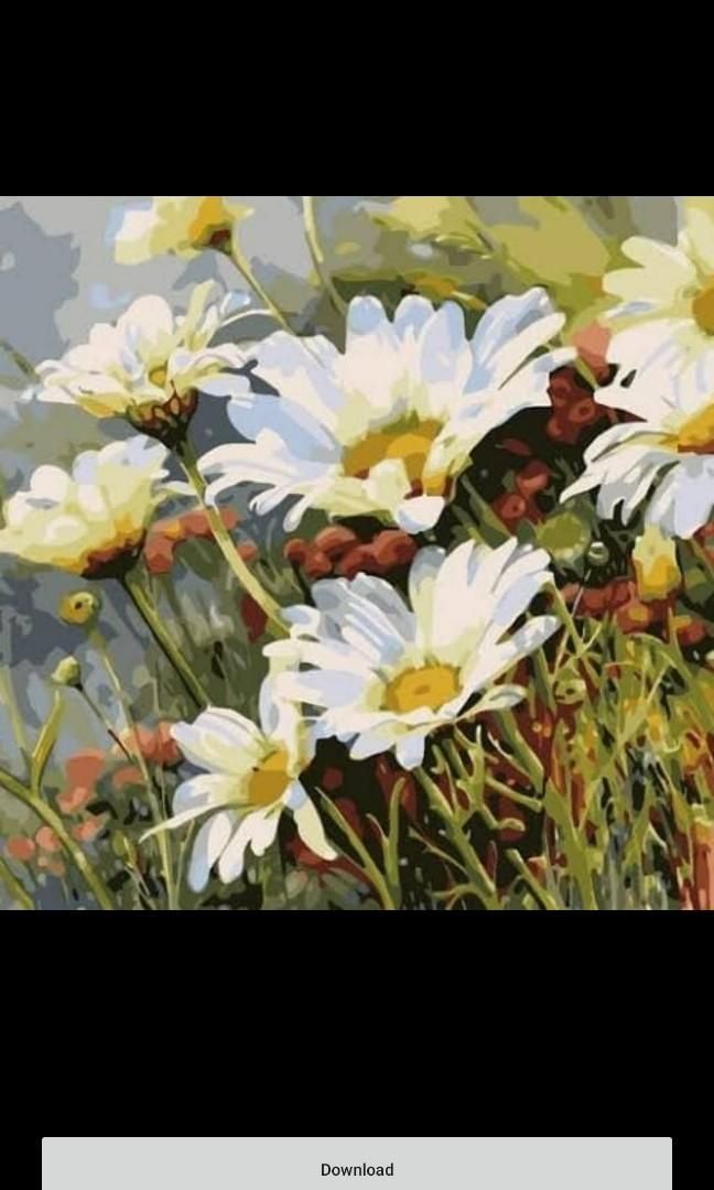 Lukisan kanvas bunga 80x60 cm rs
