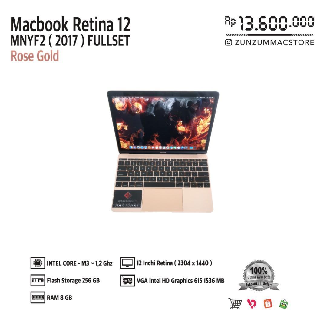 Macbook Retina 12 MNYF2 2017 Core m3  Ram 8 GB SSD 256 GB Fullset Like New
