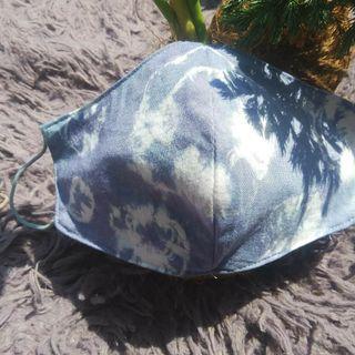 masker tie dye waterproof motif blue dots