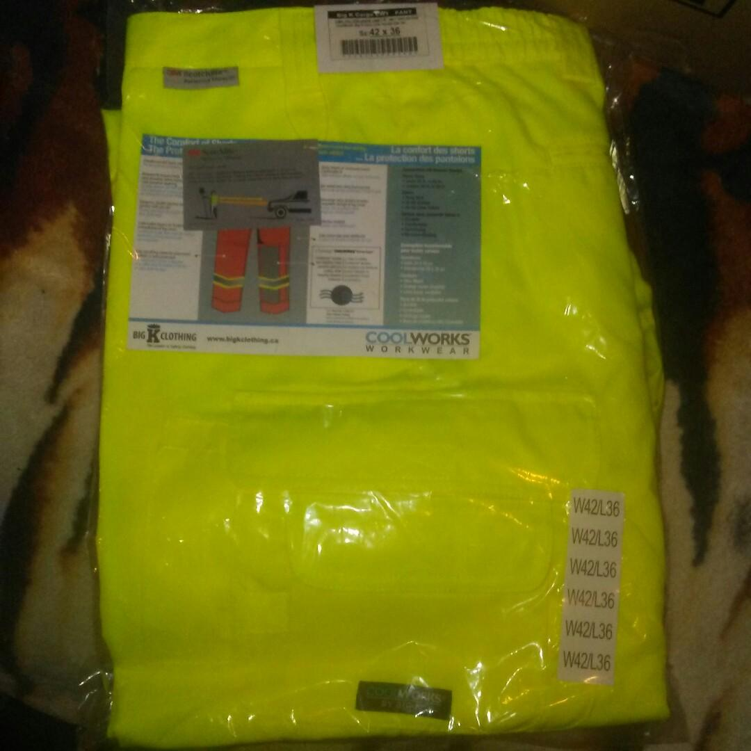 Mens flouresent yellow reflective work pants