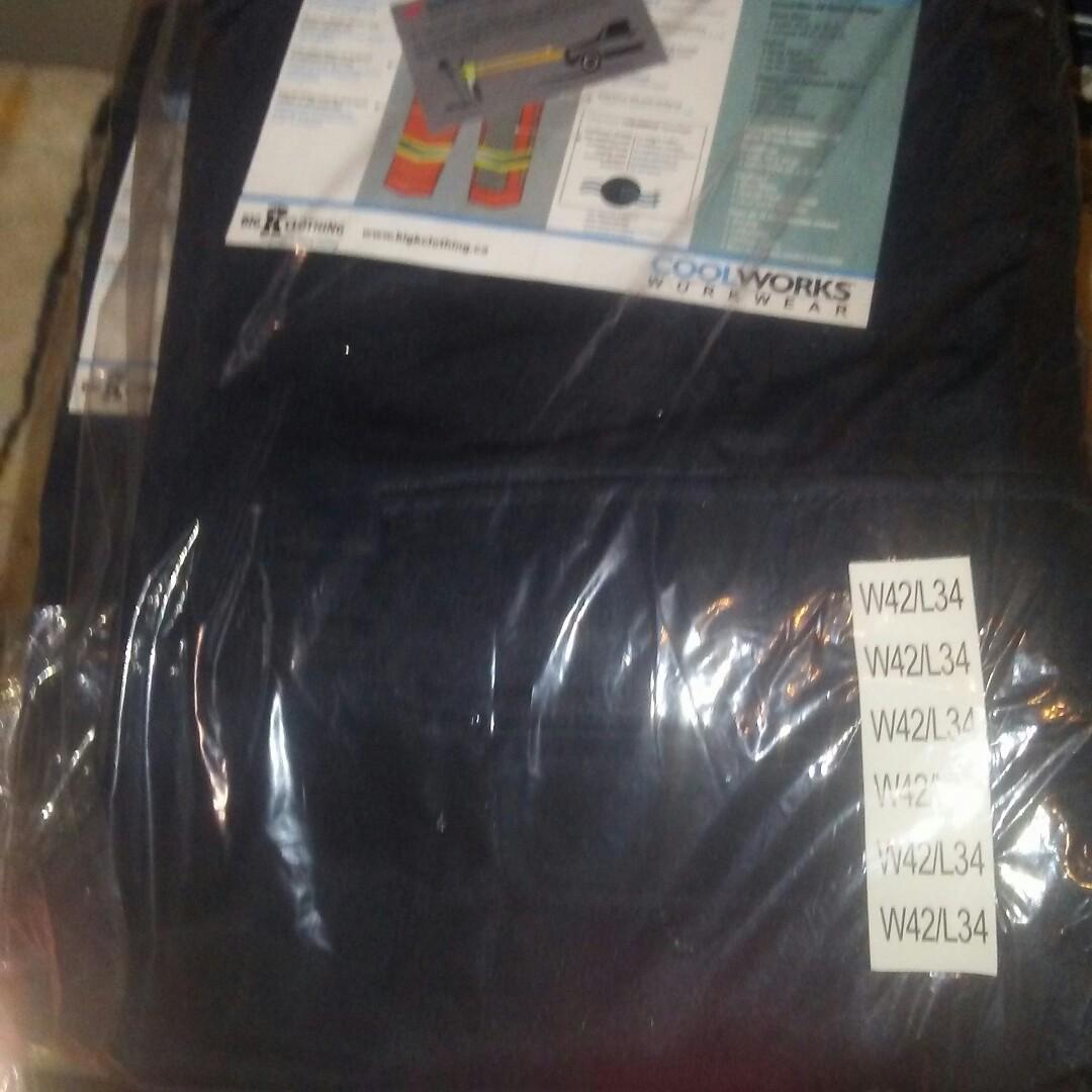 Mens navy blue reflective work cargo pants
