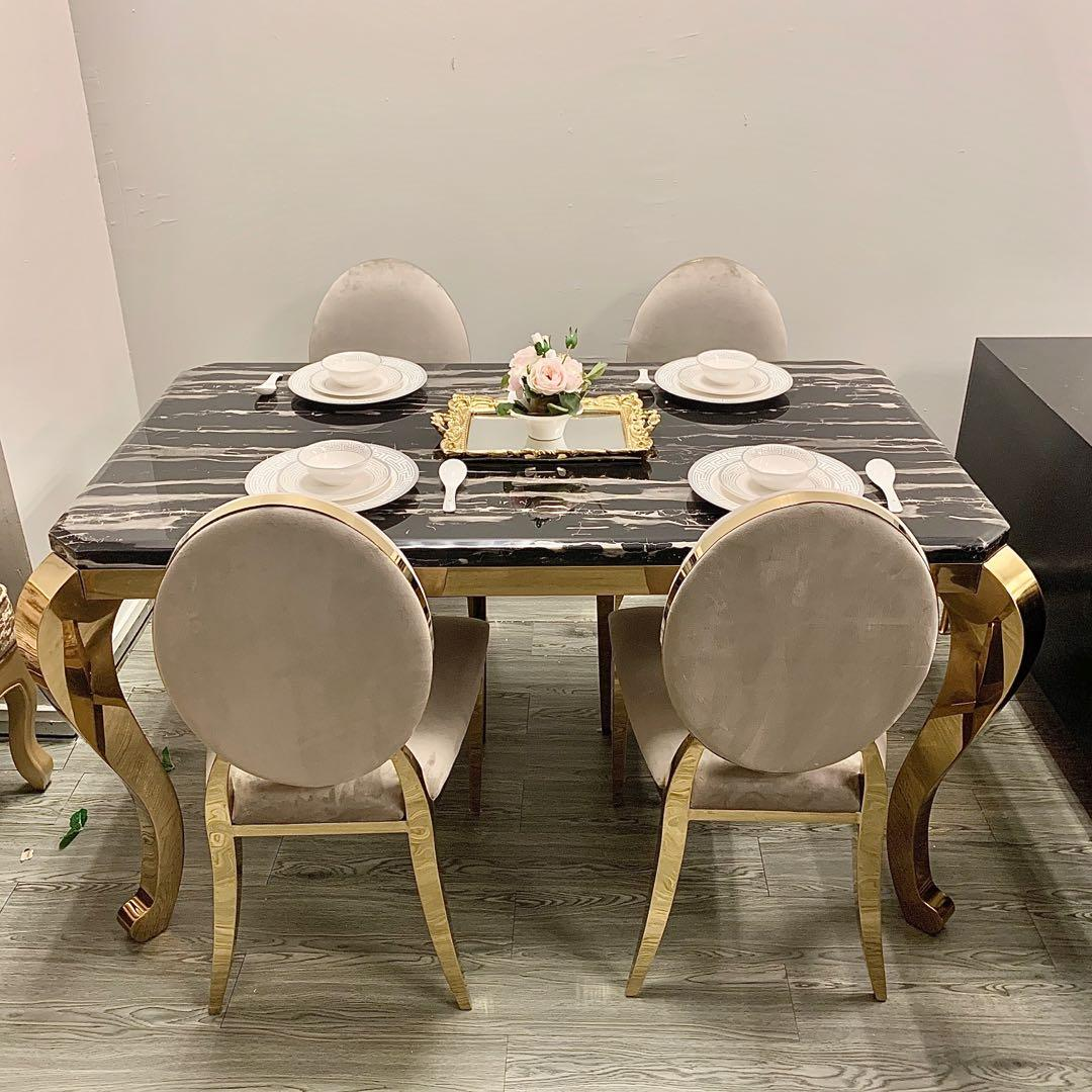 Sale Marble Top Chrome Dining Table Set Instock Furniture Tables Chairs On Carousell
