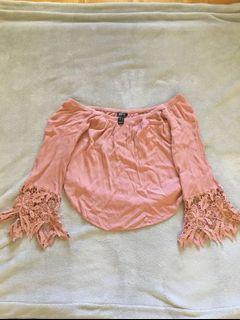 Off shoulder fringe shirt - large