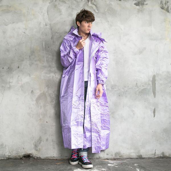 ☆宥鈞機車騎士精品☆OUT奧德蒙亮光紗布料超潑水材質 亮采前開連身式風雨衣- 紫色
