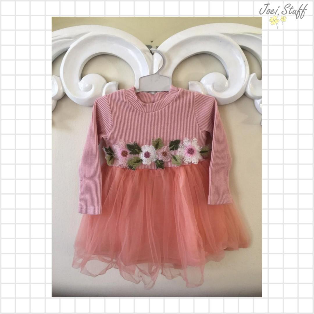 Preloved Dress Bayi Tutu Brokat Pink Bunga