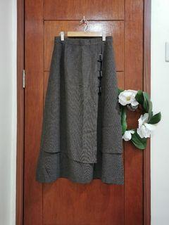 Preppy Gray Layer Midi Skirt