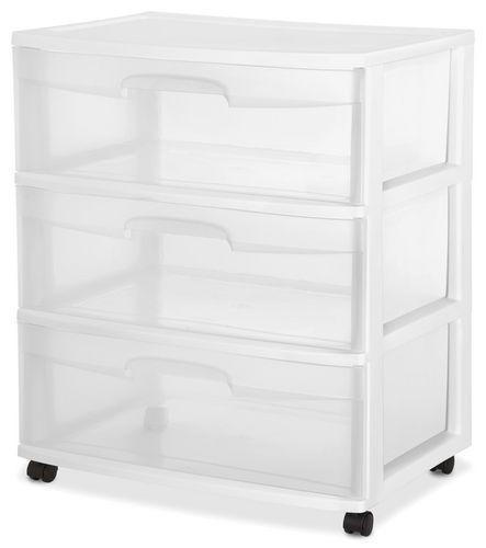 Sterilite Wide 3-Drawer Blue Cart