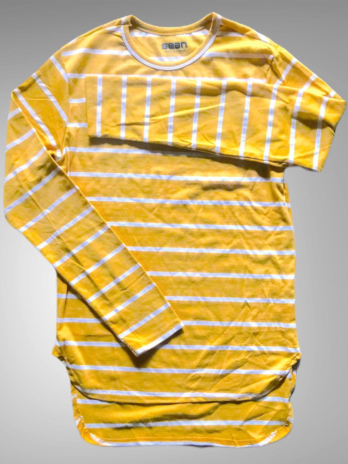 T Shirt 鵝黃長版條紋