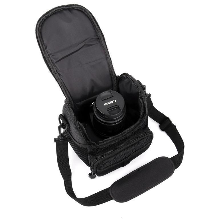 Tas Kamera DSLR Mirroreless Pocket Action Cam Slempang Segitiga Canon Nikon Sony Fujifilm