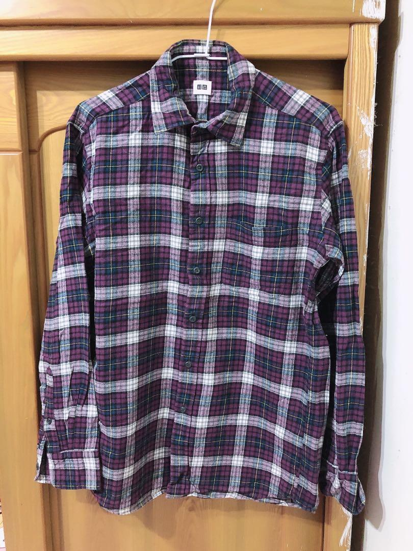 Uniqlo 男裝 法蘭絨襯衫 格紋 休閒襯衫- 紫綠白 #換季