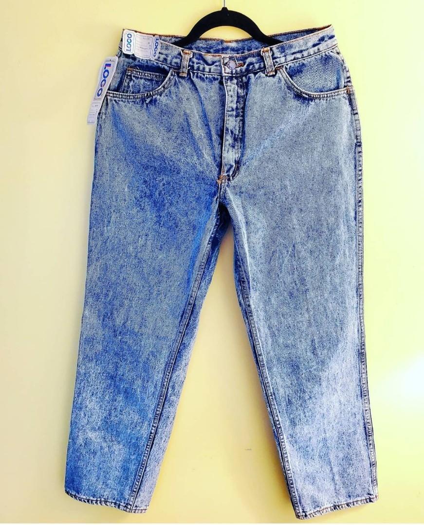 Vintage Rare 80's Logo Acid Wash Denim Jeans 34 x 31
