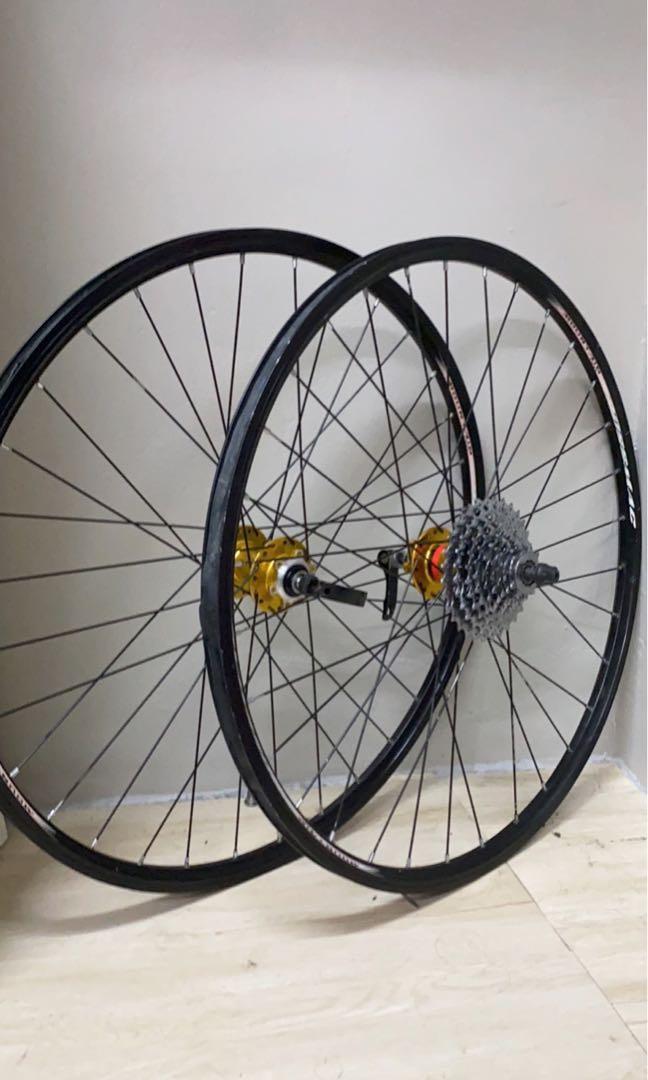 Wheelset 26' hub novatec gold with cassette sram 9 speed