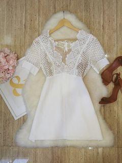 White Guipure Mini Dress