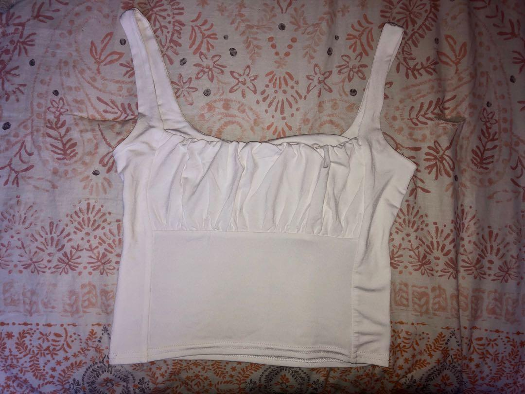 White ruched pleaded peasant tank cami crop top