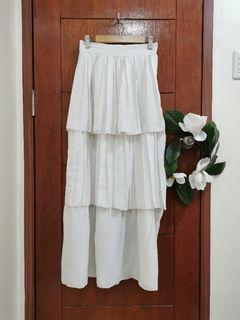 White Tiered Maxi Skirt