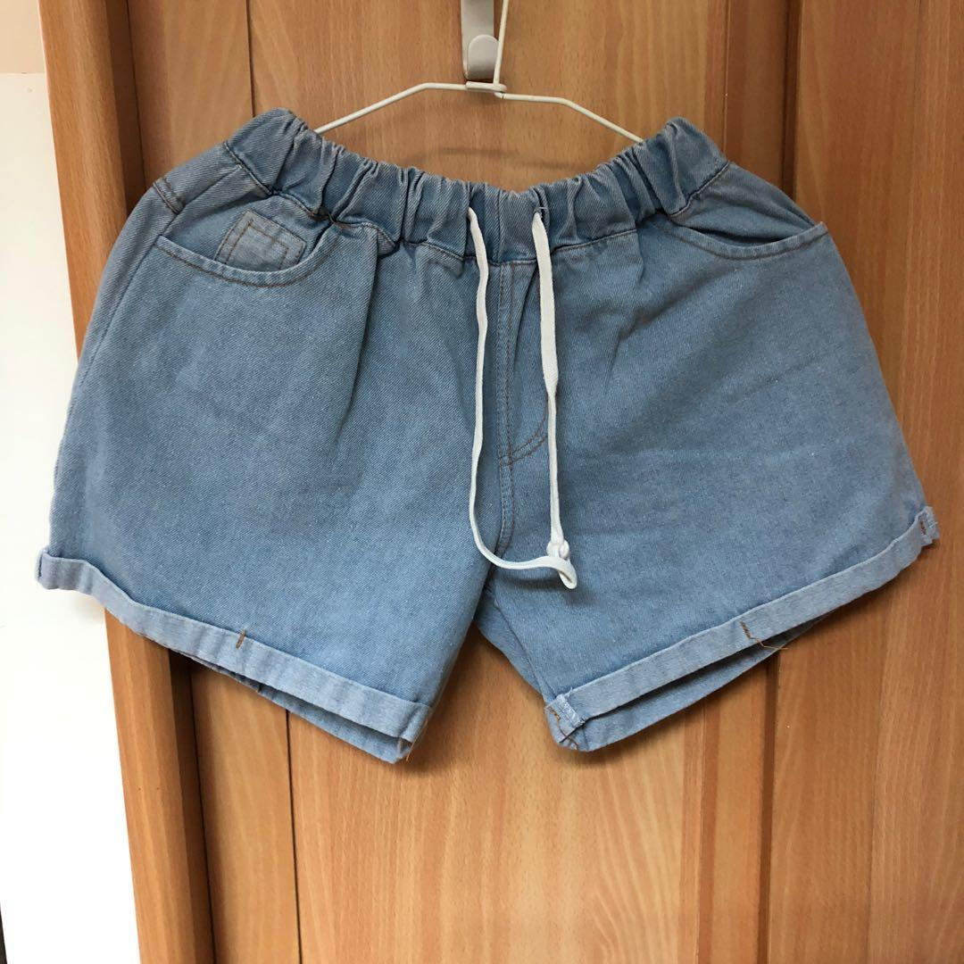 鬆緊牛仔短褲