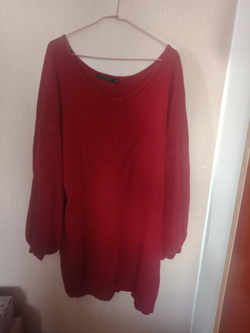 針織拋袖洋裝,紅色