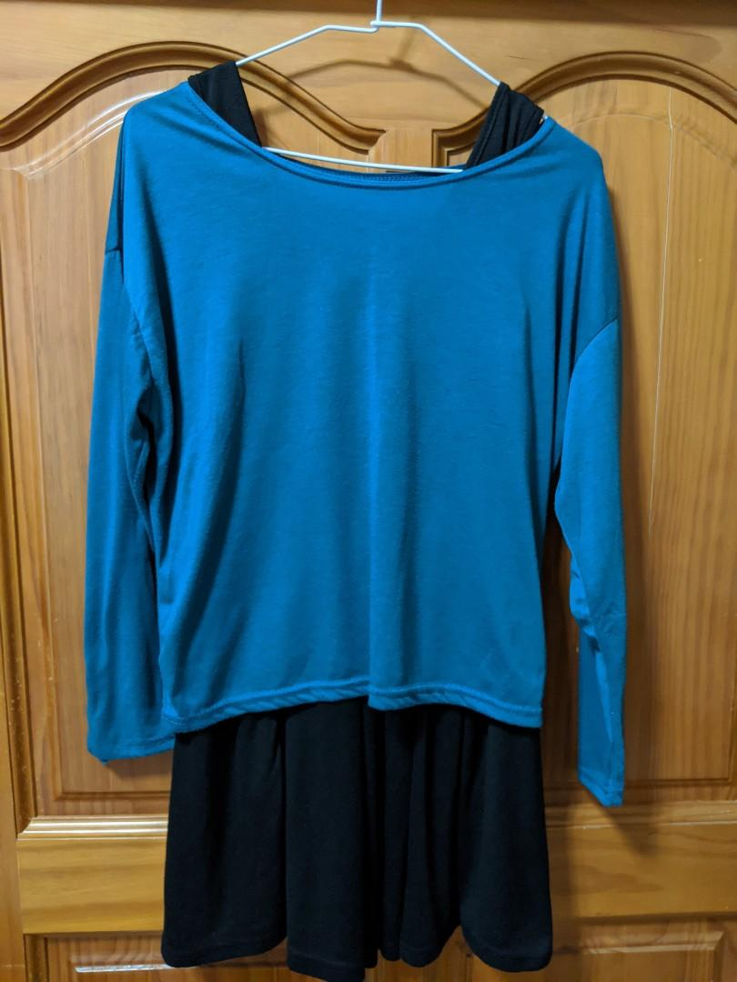 藍綠色兩件式長袖洋裝