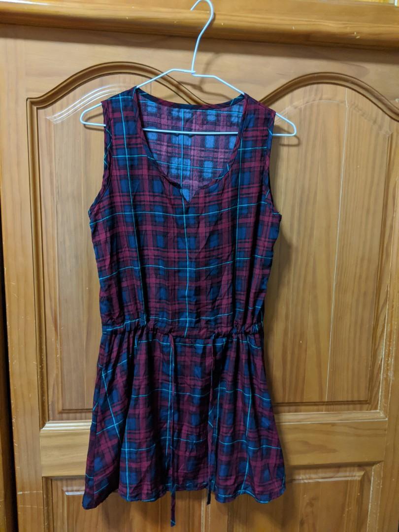 格子無袖短洋裝