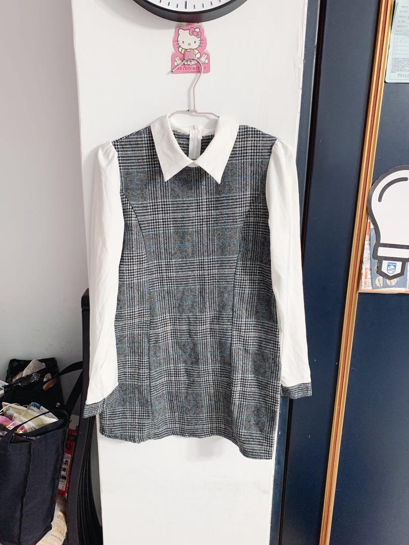 立領灰格紋 中長版洋裝