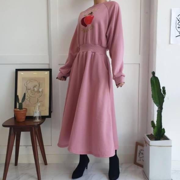 正韓洋裝  蘋果束腰洋裝