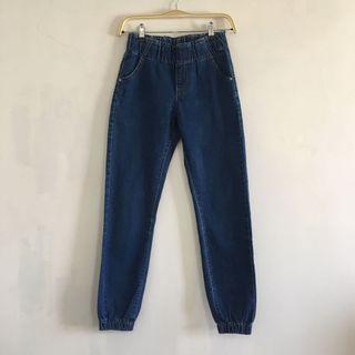 深藍色 修身 鬆緊帶 綁帶 微彈性 直筒牛仔褲 直筒縮腳牛仔褲