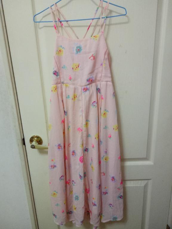 專櫃 H&M 吊帶裙 交叉 童趣 碎花 印花 花卉 背心裙 長裙 洋裝
