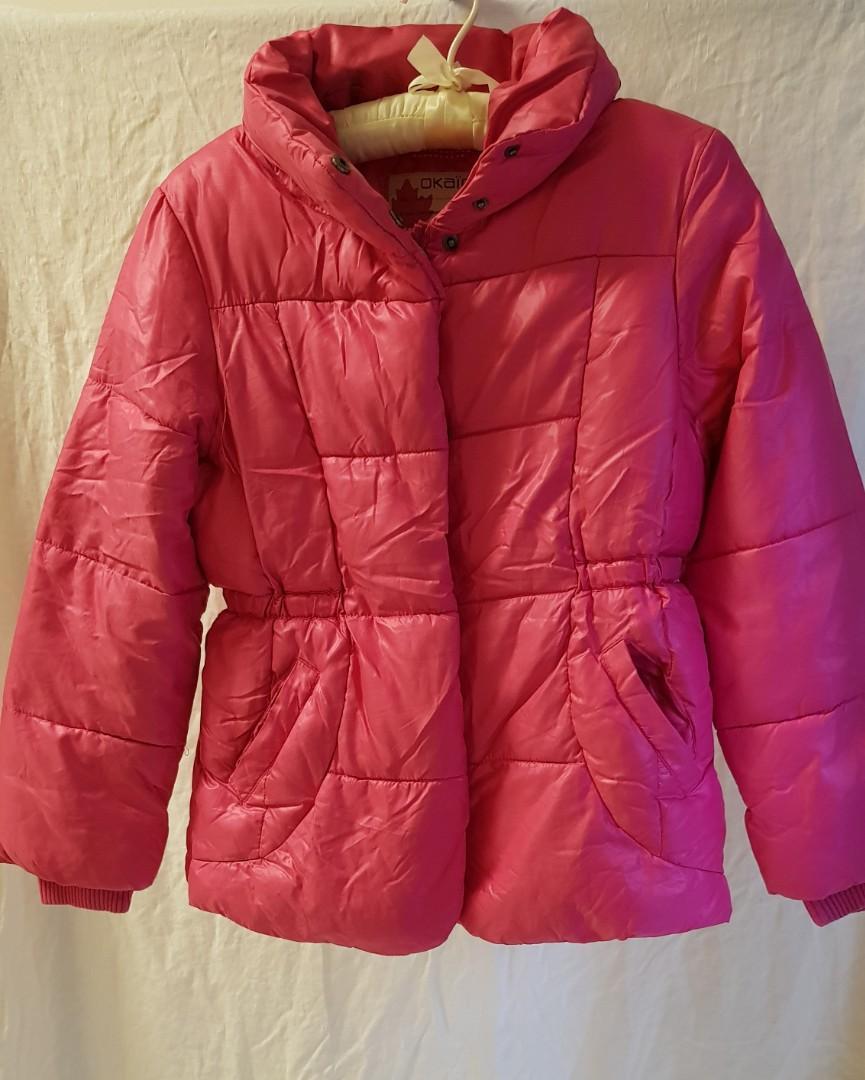 大童 OKAIDI 鋪棉內毛裡 桃紅收腰外套 10T/138cm 二手 約七成新