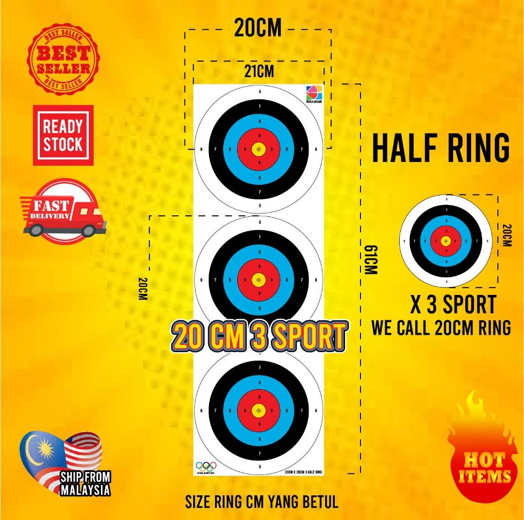 ARCHERY TARGET FACE/ TARGET ANAK PANAH/20CM X 3 SPOT RING SIZE IN WATERPROOF