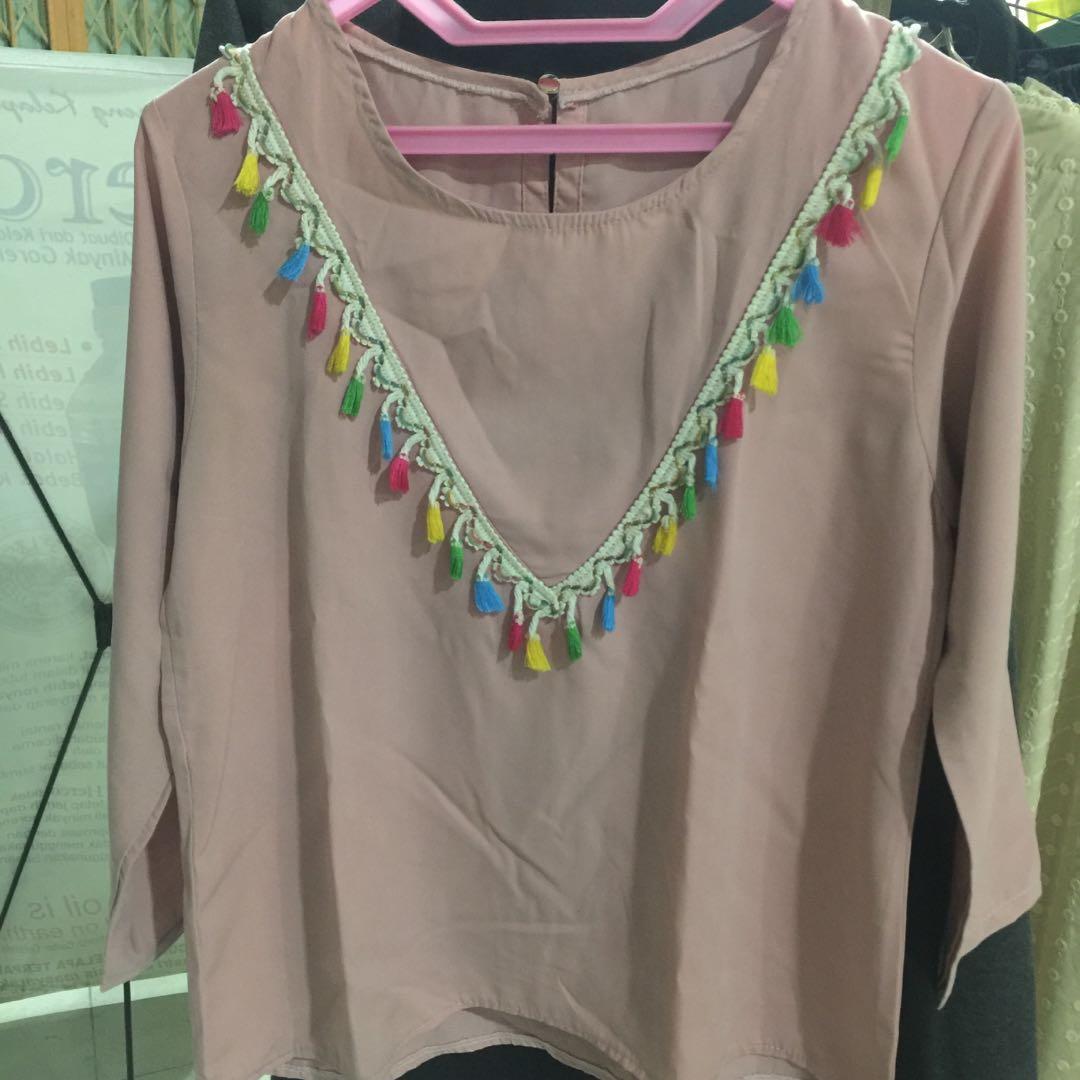 Baju atasan blouse wanita soft pink