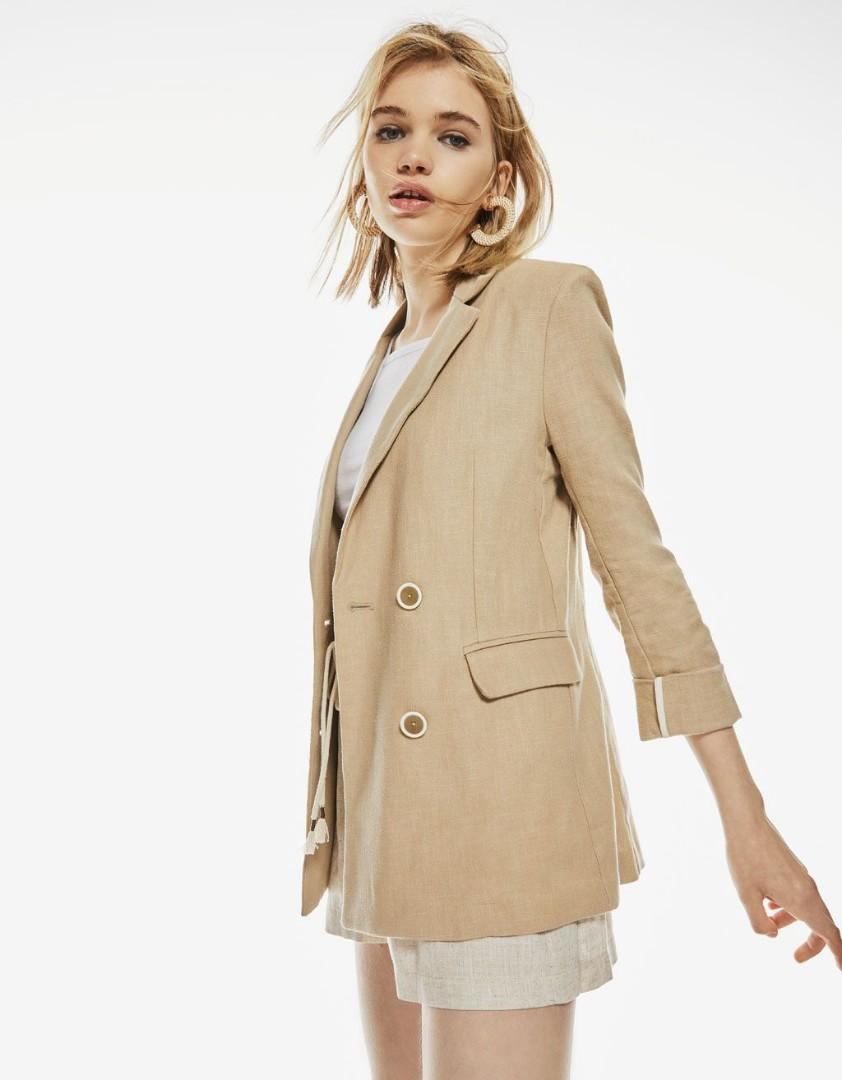 Bershka beige linen with rolled up sleeve blazer