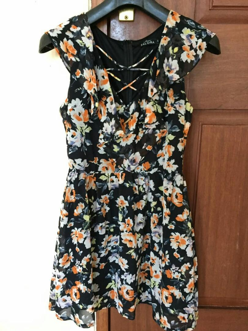Black Floral Dress Zalora Preloved Murah