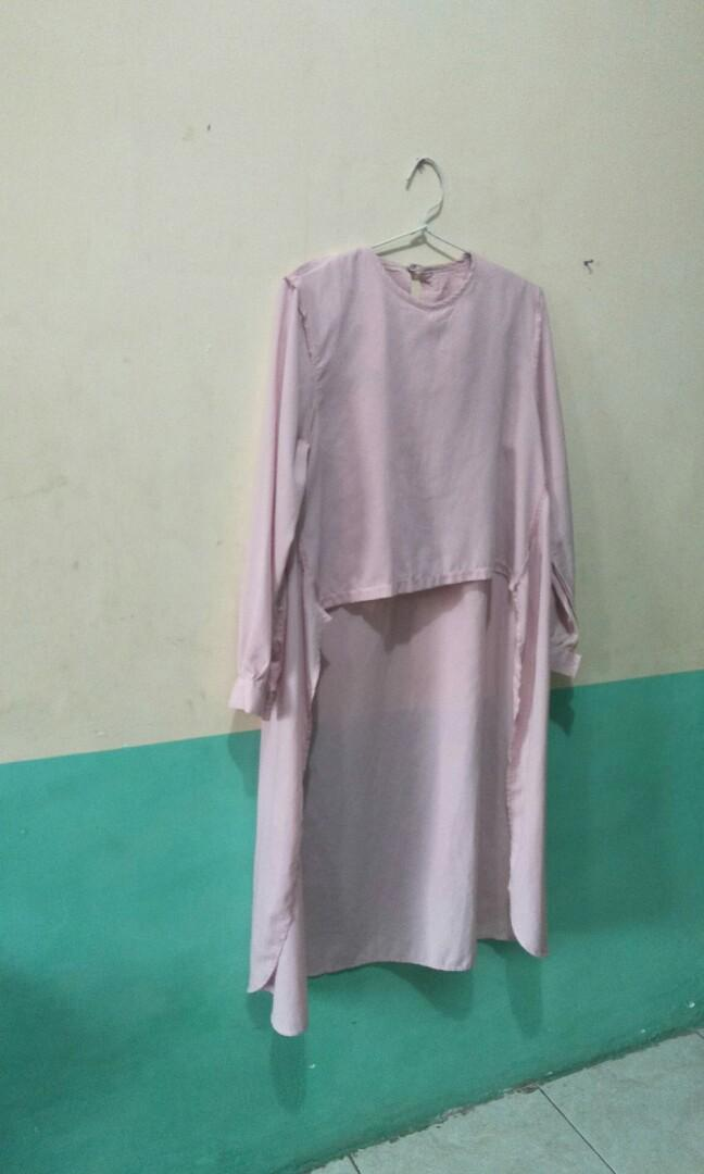blouse atasan long back warna pink pastel