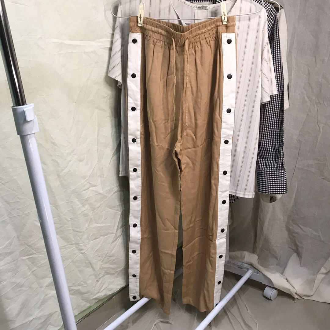 brown side button up culotte by H&m