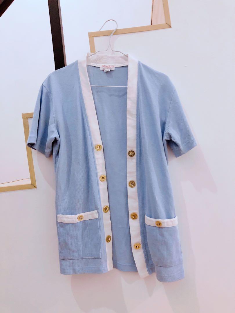 Cardigan light blue biru muda sweater tangan pendek pitih white