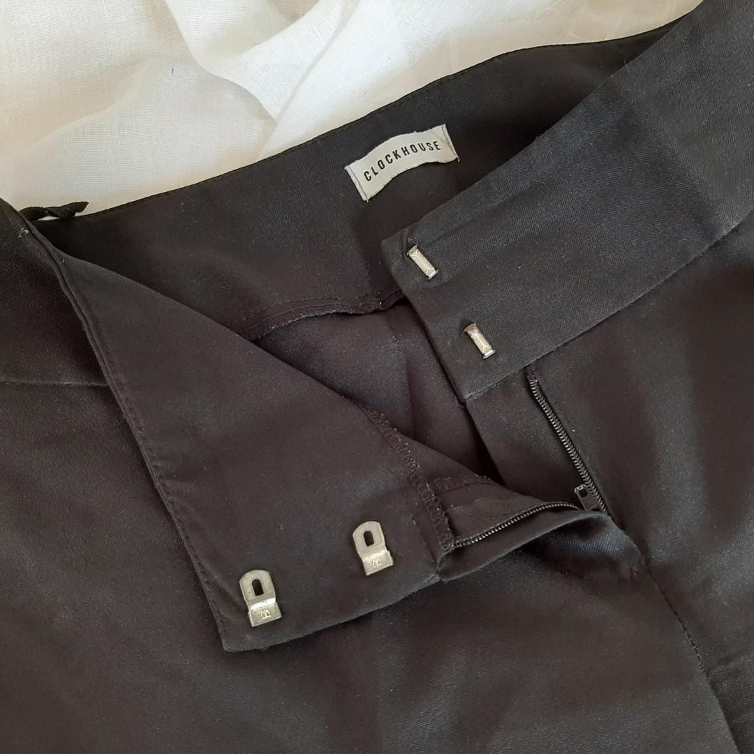 Celana bahan katun clockhouse hitam highwaist